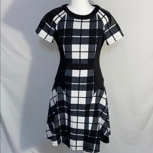 Chetta B. Fit and Flare Plaid Scuba Dress - Sz 2